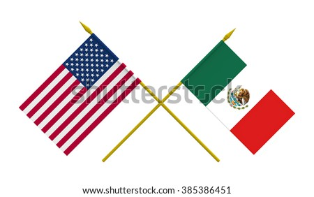 Flags of Mexico and USA, 3d render, isolated - stock photo