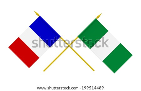 Flags of Nigeria and France, 3d render, isolated