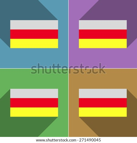Flags of North Ossetia. Set of colors flat design and long shadows.  illustration - stock photo