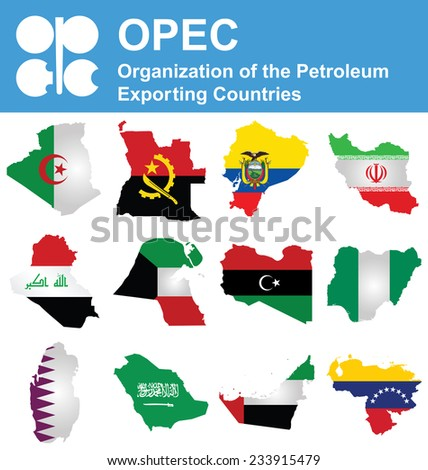 Flags of OPEC the Organization of the Petroleum Exporting Countries overlaid on outline map isolated on white background  - stock photo