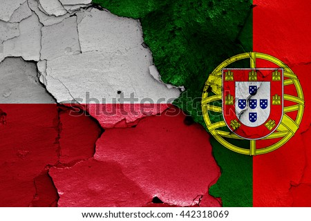 flags of Poland and Portugal painted on cracked wall - stock photo