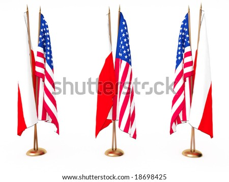 flags of Poland(Polish) and the United State isolated white