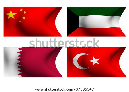 Flags of Qatar, Kuwait, Turkey and China. 3D.