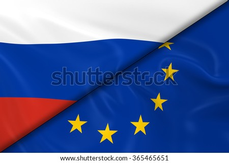 Flags of Russia and Europe Divided Diagonally - 3D Render of the Russian Flag and European Flag with Silky Texture
