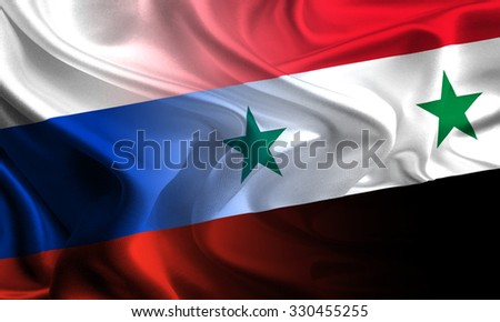 Flags of Russia and Syria waving together - stock photo