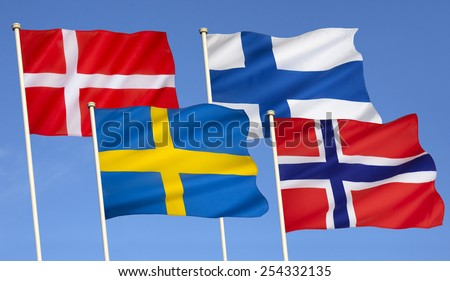 Flags of Scandinavia - Denmark, Finland, Sweden and Norway. - stock photo