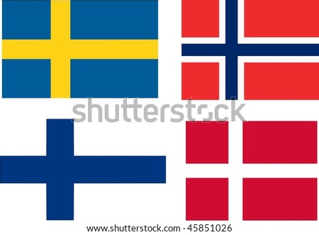 flags of Scandinavia - isolated illustration