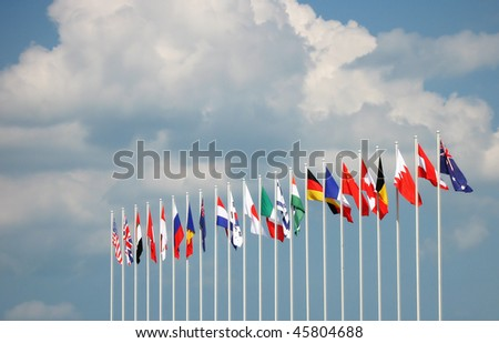 Flags of some major global countries - stock photo