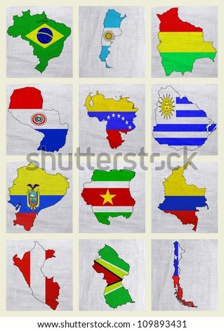 Flags of South American countries on a sackcloth background