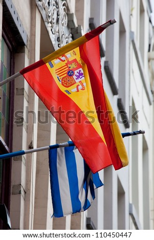 Flags of Spain and Greece in the center of Brussels, Belgium, two countries hit hard by the European debt crisis.