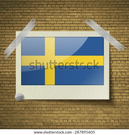 Flags of Sweden at frame on a brick background.  illustration. Rastrized version - stock photo