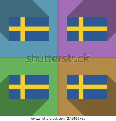 Flags of Sweden. Set of colors flat design and long shadows.  illustration - stock photo