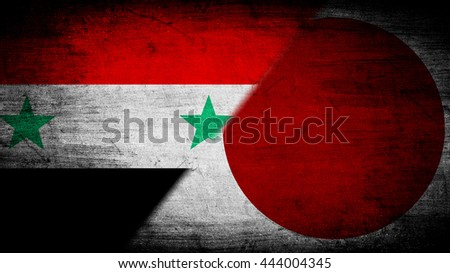 Flags of Syria and Japan divided diagonally