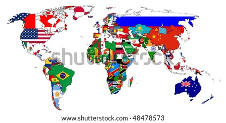 Flags of the countries on the world map - stock photo