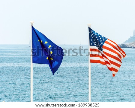 flags of the european union and the united states, symbolic photo for, diplomacy, foreign policy - stock photo