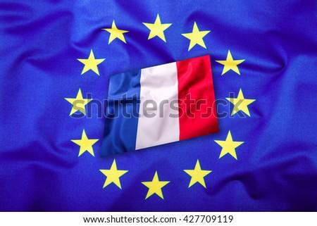 Flags of the france and the European Union. France Flag and EU Flag. Flag inside stars. World flag concept. - stock photo