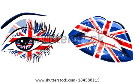 Flags of the Great Britain in beautiful female eye and lips - stock photo