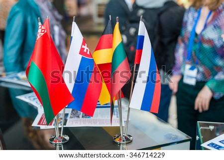 flags of the states of Belarus, Russia, Slovakia, Germany, Lithuania (shallow DOF; color toned image) - stock photo