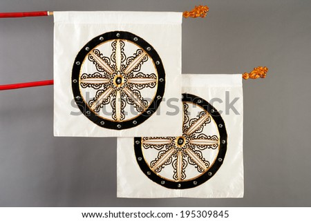 Flags of the traditional Chinese theater - stock photo