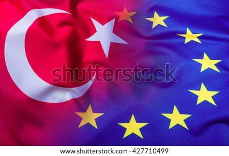 Flags of the Turkey and the European Union. Turkey Flag and EU Flag. World flag concept. - stock photo