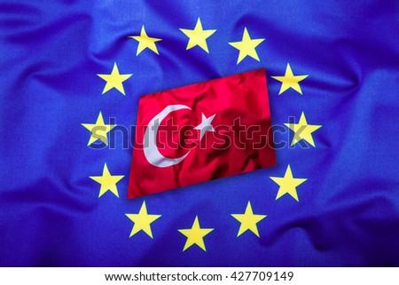 Flags of the Turkey and the European Union. Turkish Flag and EU Flag. Flag inside stars. World flag concept. - stock photo
