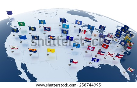 Flags of the U.S. states on American continent - stock photo
