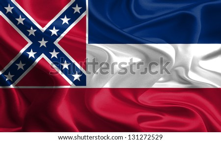 Flags of the U.S. states: Waving Fabric Flag of Mississippi