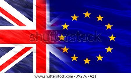 Flags of the United Kingdom and the European Union - stock photo