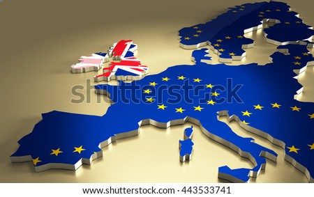 Flags of the United Kingdom and the European Union. Brexit referendum. British leaves EU. Flag isolated on the white background. - stock photo
