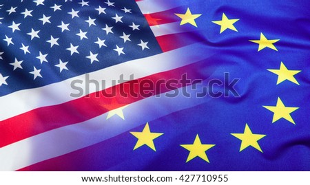 Flags of the USA and the European Union. American Flag and EU Flag. Flag inside stars. World flag concept. - stock photo