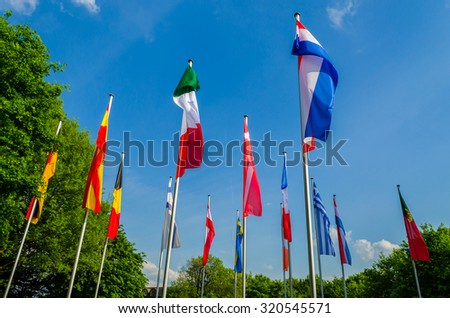 Flags of the world, a sea of â??â??flags of different nations and organization - stock photo