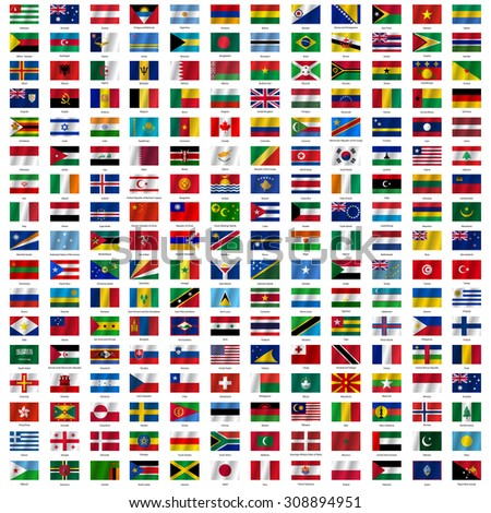 Flags of the world and  map on white background. illustration. - stock photo