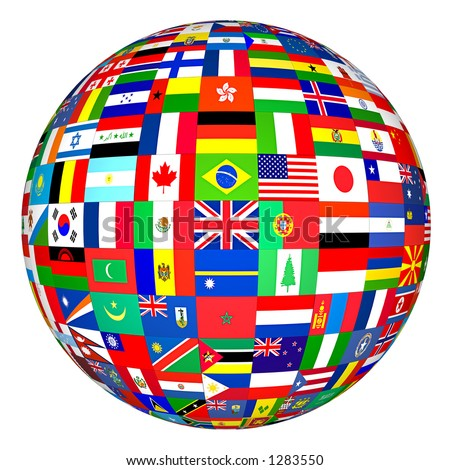 Flags of the world in globe format. - stock photo