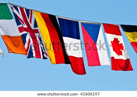 Flags of the world-Prominent countries are Great Britain, France, Canada, Germany, Czech Republic, Italy. - stock photo