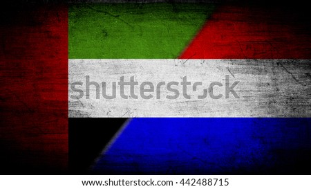 Flags of United Arab Emirates and Netherlands divided diagonally