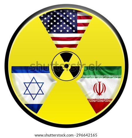 Flags of United states Israel and Iran with nuclear icon - stock photo