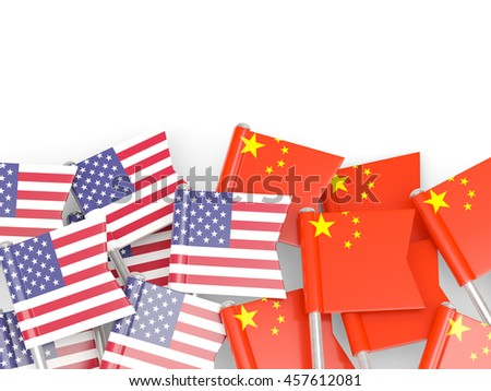 Flags of USA and China   isolated on white. 3D illustration - stock photo