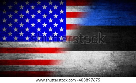 Flags of USA and Estonia divided diagonally