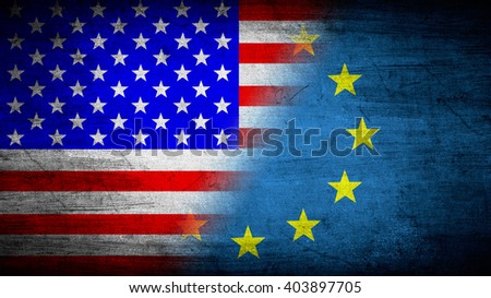 Flags of USA and European Union divided diagonally
