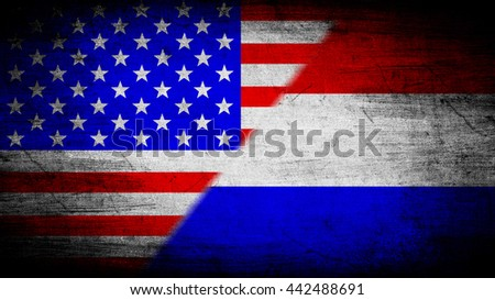 Flags of USA and Netherlands divided diagonally
