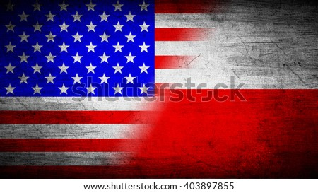 Flags of USA and Poland divided diagonally