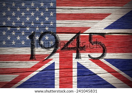 Flags of USA and United Kingdom over a Wooden Background.World War II Concept.  - stock photo