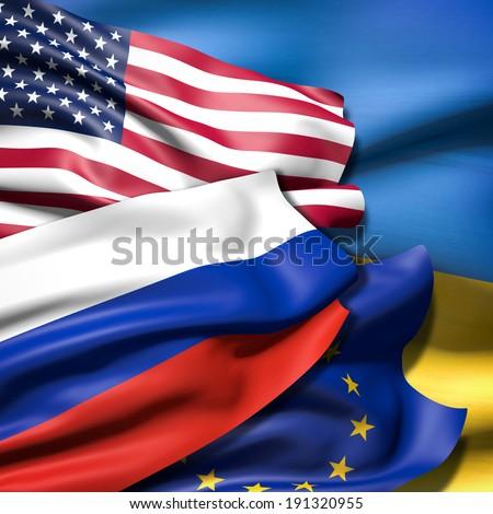 Flags of USA, the European Union, Russia and Ukraine - stock photo