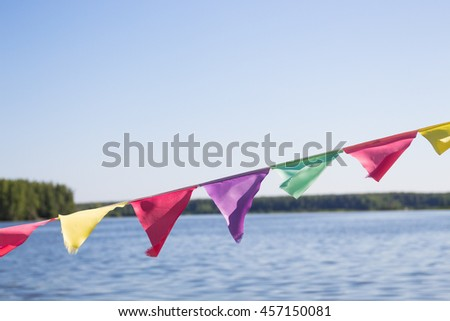 Flags on a background of water