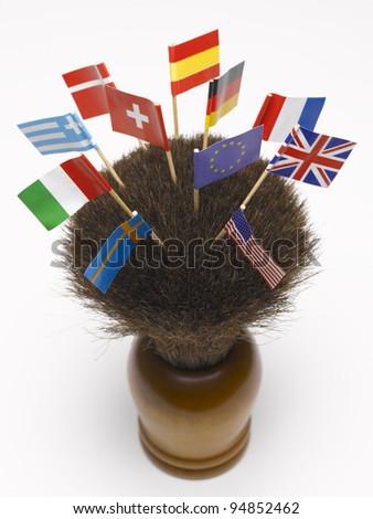 Flags on a shaving brush - stock photo