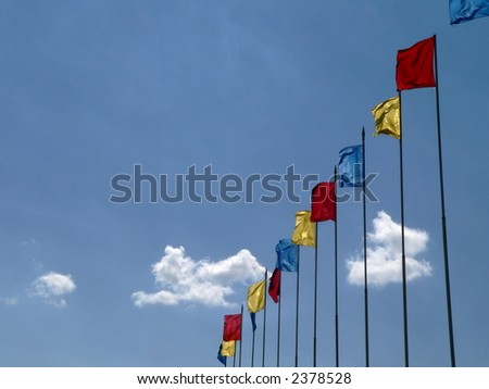 Flags on sky background 2