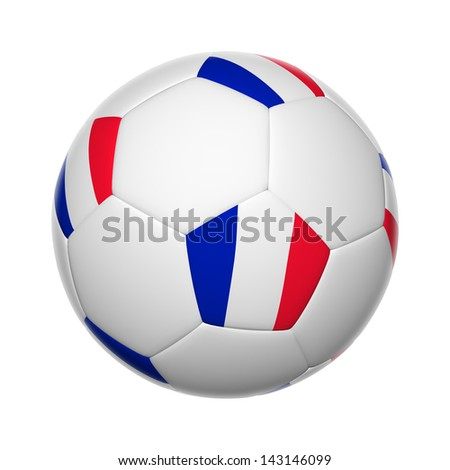 Flags on soccer ball of France - stock photo