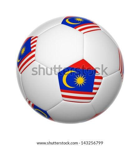 Flags on soccer ball of Malaysia - stock photo