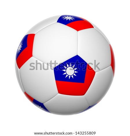 Flags on soccer ball of Taiwan - stock photo