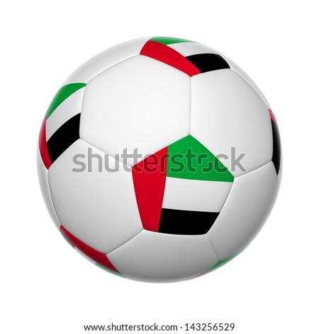 Flags on soccer ball of United Arab Emirates - stock photo
